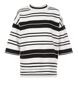 Black Stripe Dip Hem Wide Sleeve Top | New Look