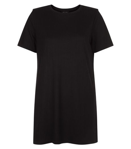 Black Ribbed Longline T-Shirt  | New Look