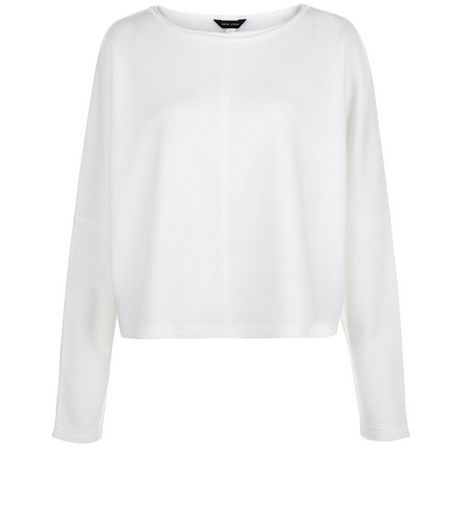 Cream Batwing Long Sleeve Crop Sweater | New Look