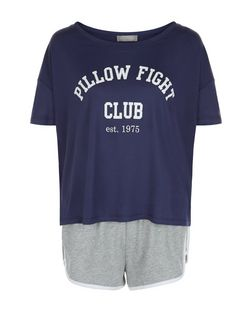 Petite Navy Pillow Fight Print Pyjama Set | New Look