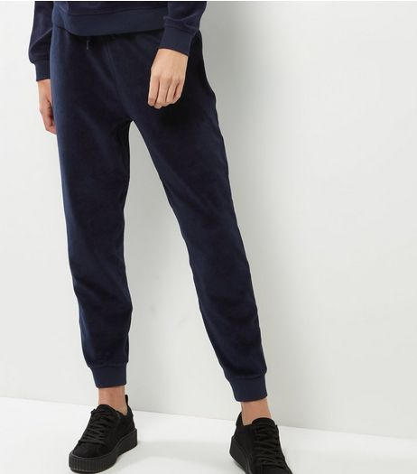 Navy Velvet Joggers  | New Look