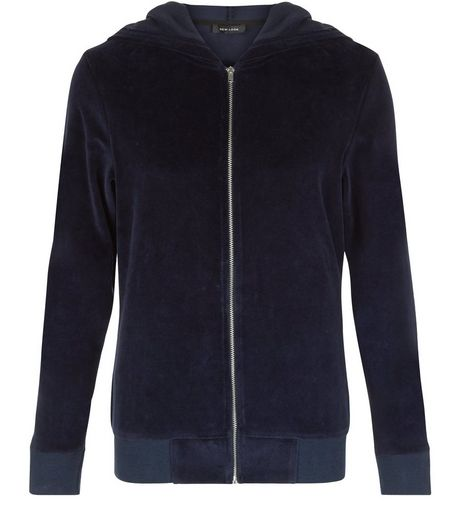 Navy Velvet Zip Up Hoodie  | New Look