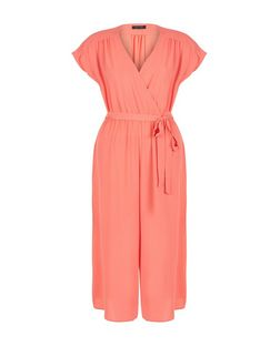 Coral Wrap Front Culotte Jumpsuit | New Look