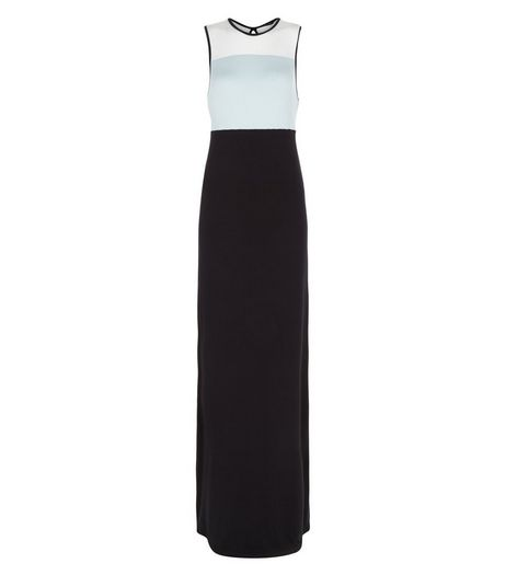 Black Colour Block Maxi Dress  | New Look