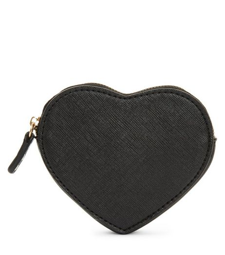 Black Heart Shape Coin Purse | New Look