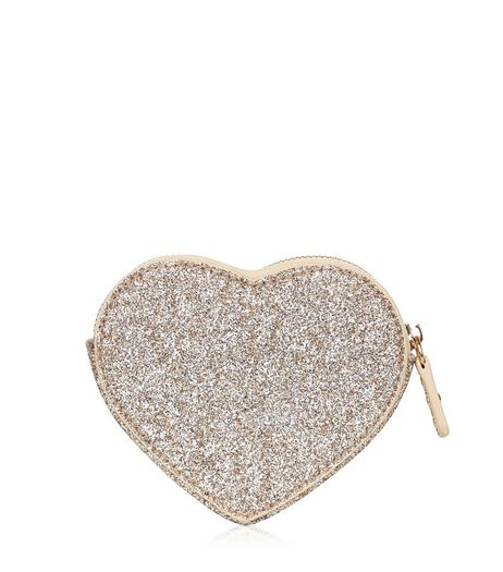 Gold Glitter Heart Coin Purse | New Look