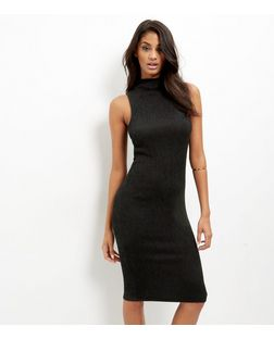 Black Pleated Funnel Neck Sleeveless Midi Dress | New Look