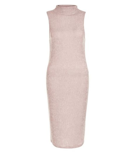 Mid Pink Pleated Funnel Neck Sleeveless Midi Dress  | New Look