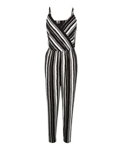Black Stripe Wrap Front Strappy Jumpsuit  | New Look