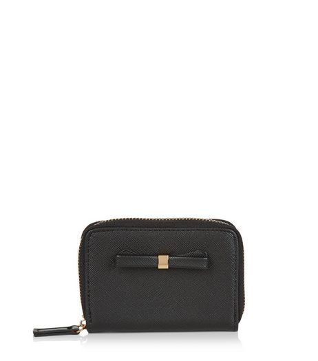 Black Bow Mini Zip Around Card Holder | New Look