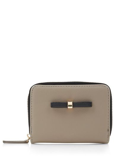 Mink Bow Mini Zip Around Card Holder | New Look