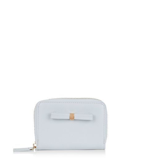 Pale Blue Bow Mini Zip Around Card Holder | New Look