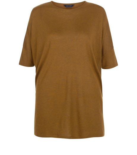 Olive Green Marl Oversized T-Shirt | New Look