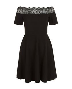 Black Lace Trim Bardot Neck Skater Dress  | New Look