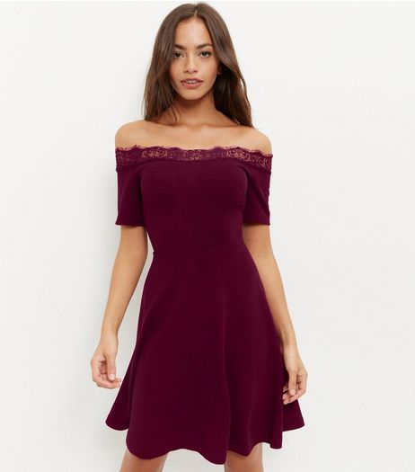 Burgundy Lace Trim Bardot Neck Skater Dress | New Look