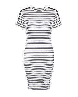 White Double Strap T-Shirt Dress  | New Look