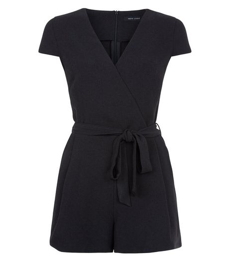 Black Wrap Front Tie Waist Playsuit  | New Look