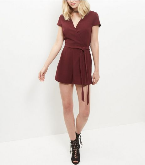 Burgundy Wrap Front Tie Waist Playsuit  | New Look