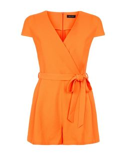 Bright Orange Wrap Front Tie Waist Playsuit  | New Look
