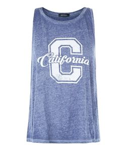 Navy Faded California Swing Tank Top  | New Look