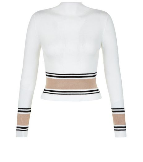 Petite White Contrast Trim Crop Top | New Look