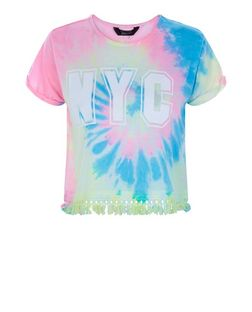 Teens Blue Tie Dye NYC Print T-Shirt | New Look