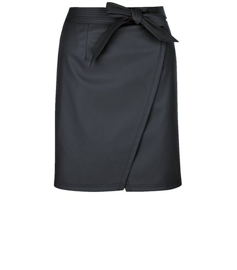 Petite Black Leather-Look Wrap Skirt | New Look