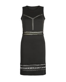 Blue Vanilla Black Crochet Trim Bodycon Dress  | New Look