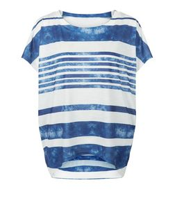 Blue Vanilla Navy Stripe Oversized T-Shirt  | New Look