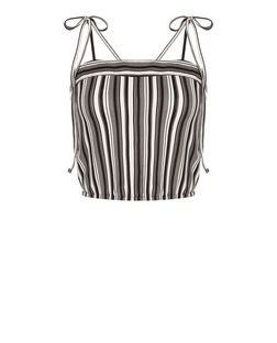 White Stripe Tie Strap Cami  | New Look
