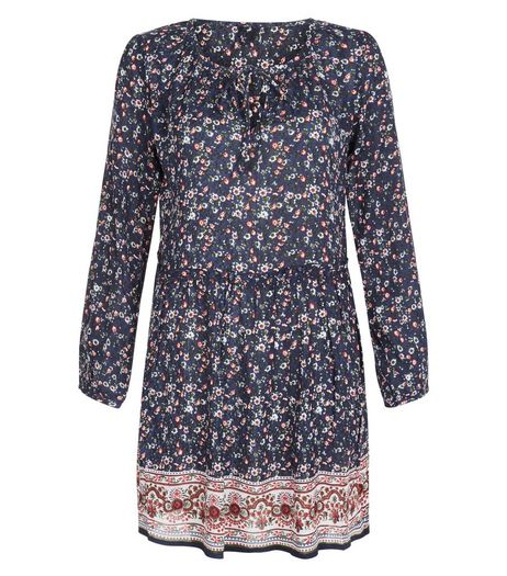 Blue Vanilla Blue Floral Print Long Sleeve Dress | New Look