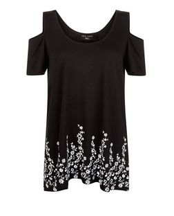 Tall Black Floral Print Cold Shoulder T-Shirt | New Look
