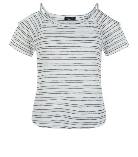 Teens Blue Stripe Fine Knit Cold Shoulder Top | New Look