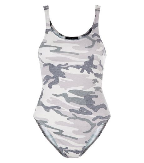 Green Camo Print Bodysuit  | New Look