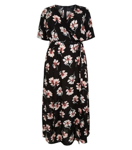 Curves Black Floral Print Wrap Maxi Dress | New Look