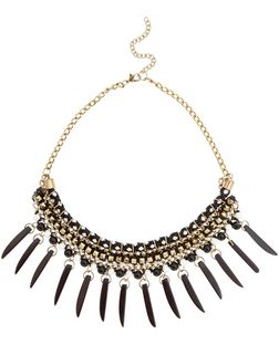 Black Studded Spike Necklace | New Look