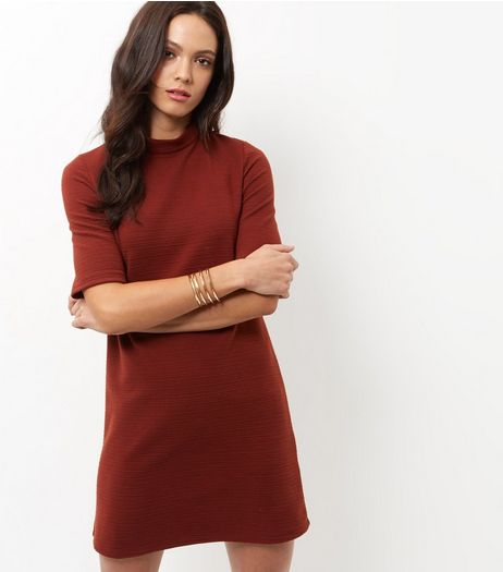 Light Brown Funnel Neck Tunic Dress | New Look
