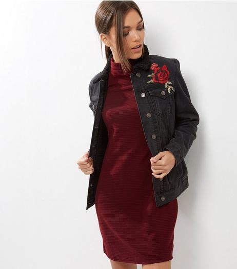 Burgundy Funnel Neck 1/2 Sleeve Tunic Dress | New Look