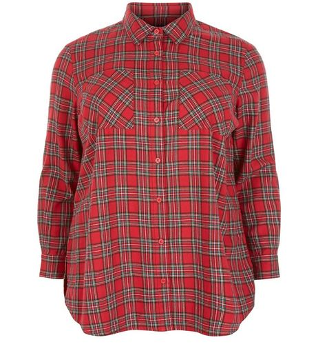 Curves Red Tartan Check Long Sleeve Shirt | New Look