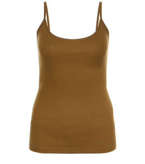 Olive Green Scoop Neck Cami  | New Look