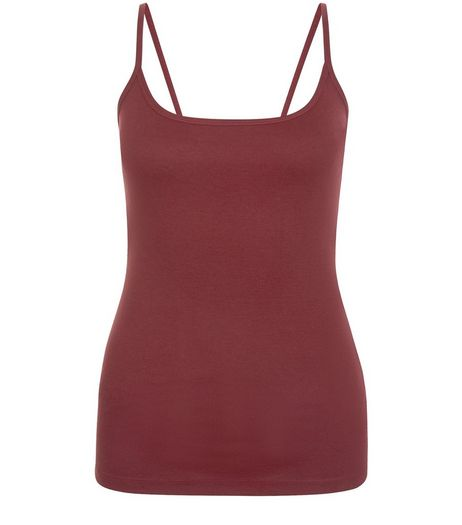 Burgundy Scoop Neck Cami  | New Look