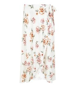 Curves White Floral Print Wrap Skirt | New Look