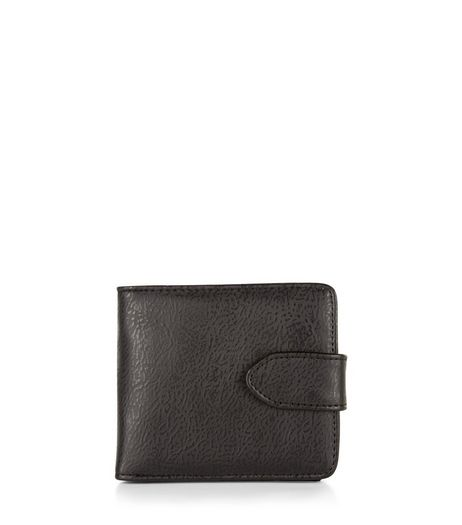 Black Snap Fastening Leather-Look Wallet | New Look