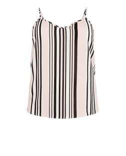 Curves Pink Stripe V Neck Cami | New Look