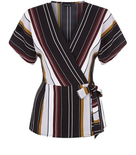Black Stripe Wrap Tie Side Top | New Look