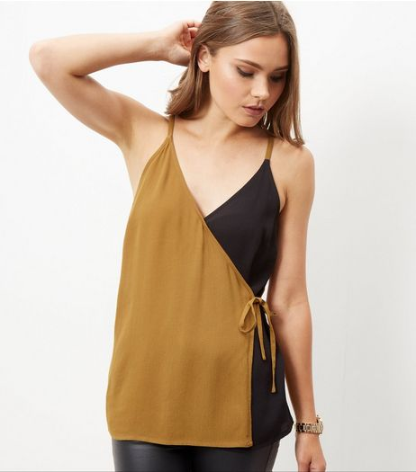 Black Colour Block Tie Wrap Side Cami  | New Look