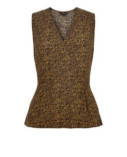 Green Animal Print Wrap Front Peplum Top  | New Look