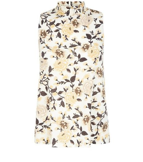 White Floral Print Funnel Neck Vest  | New Look