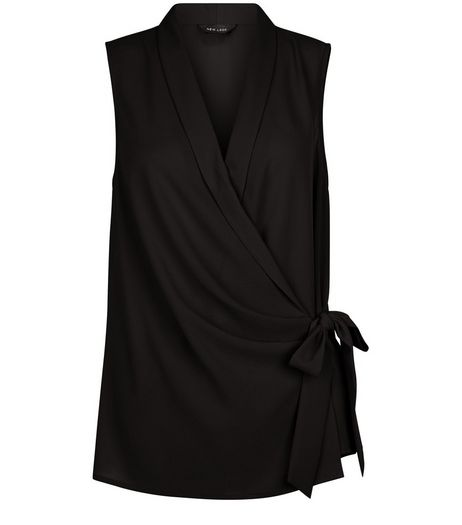 Black Tie Waist Wrap Sleeveless Top | New Look