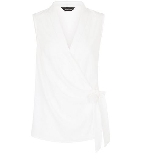 Cream Tie Waist Wrap Sleeveless Top | New Look